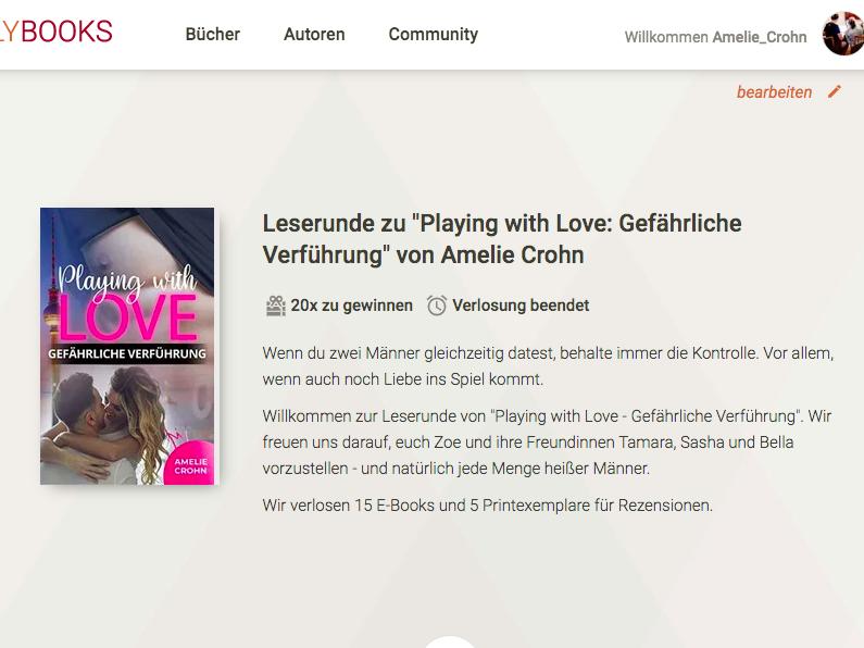 Leserunde zu Playing with Love Gefährliche Verführung bei Lovelybooks
